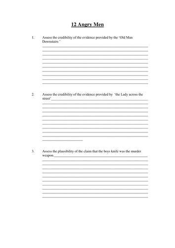 question sheet to accompany film viewing of 12 angry men for critical thinking