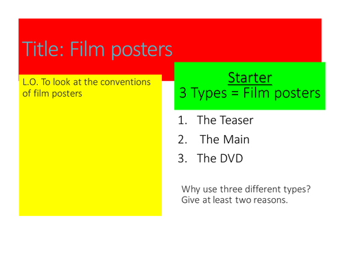 Film Posters Analysis  - reading assessment