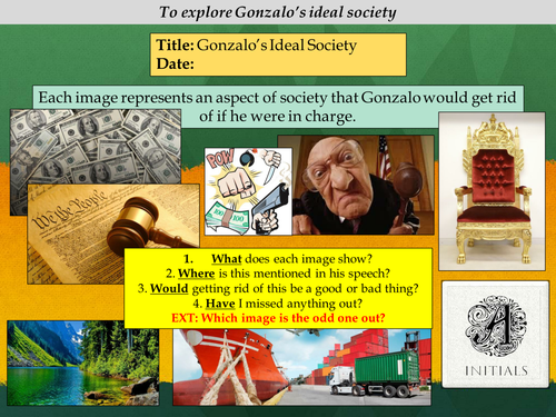 KS3: The Tempest - William Shakespeare (Act: Scene 2) Gonzalo's ideal society