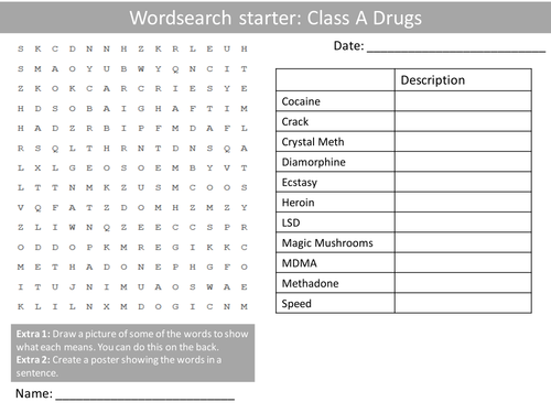 PSHE Class A Drugs Wordsearch Crossword Anagrams Keyword