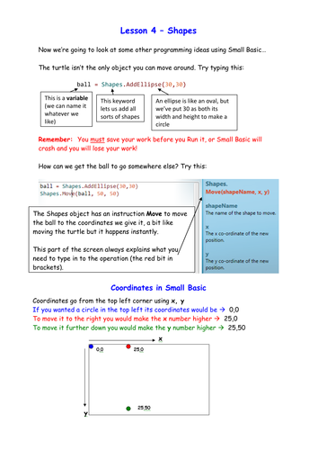Introduction to programming using Small Basic - (KS2-KS3) - Lesson 4 Shapes and Animation