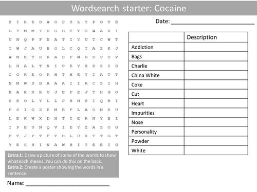 PSHE Drugs Cocaine Wordsearch Crossword Anagrams Keyword Starters Homework  or Cover Lesson