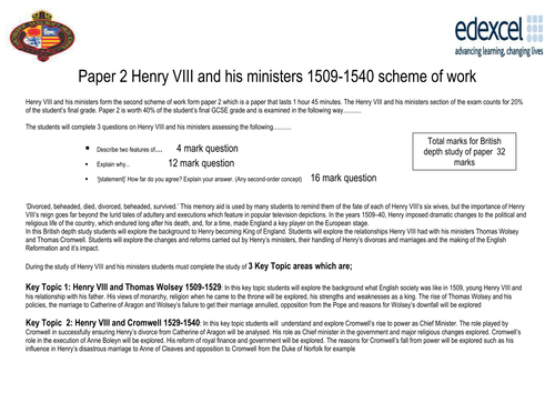 Edexcel History Henry VIII and his ministers complete lesson by lesson scheme of work