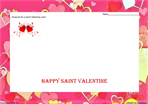2Saint Valentine drawwrite your own card by planactivity – Saint Valentine Card