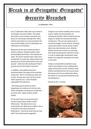 Newspaper report examples resource pack.
