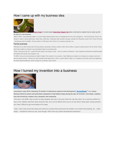 Business Activity - Reasons for start-ups, sectors, PEST
