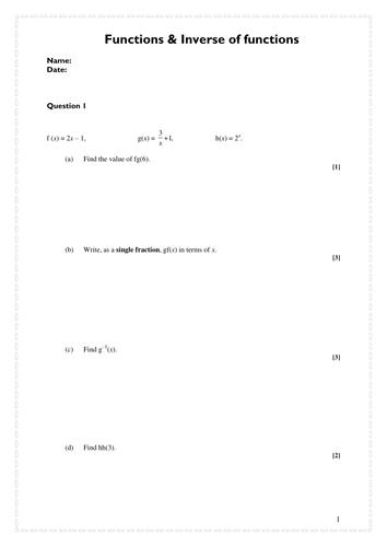 Functions Worksheet