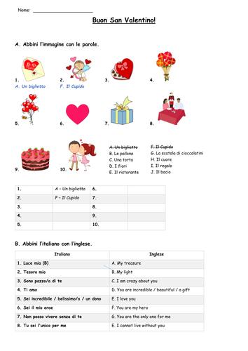 Italian Valentine's Day Worksheet