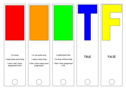 AfL traffic light cards
