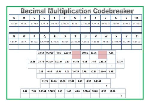 decimal multiplication codebreaker sheet by prof689 teaching resources tes. Black Bedroom Furniture Sets. Home Design Ideas