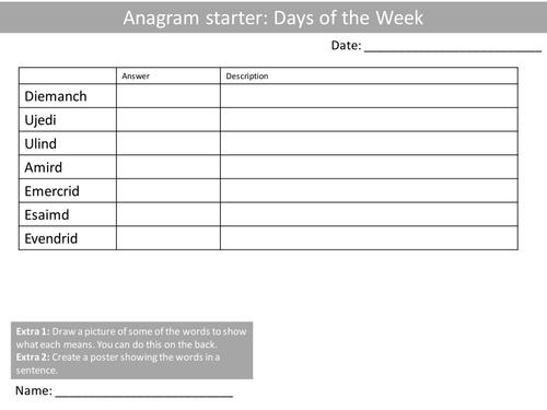 10 anagrams french language keywords ks3 gcse anagram starter plenary cover by mikedean. Black Bedroom Furniture Sets. Home Design Ideas