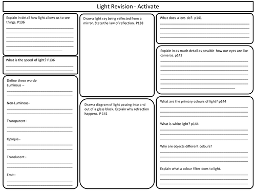 KS3 Light revision sheets for Activate Science