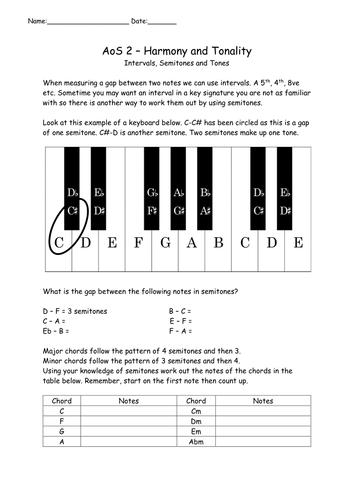 GCSE Harmony (semitones, tones, intervals and chord identification)