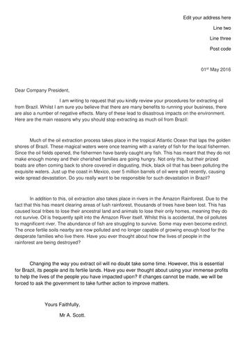 Brazil exemplar persuasive letter for literacy