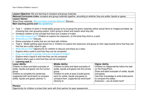 Y4 States of Matter - 7 lesson plans