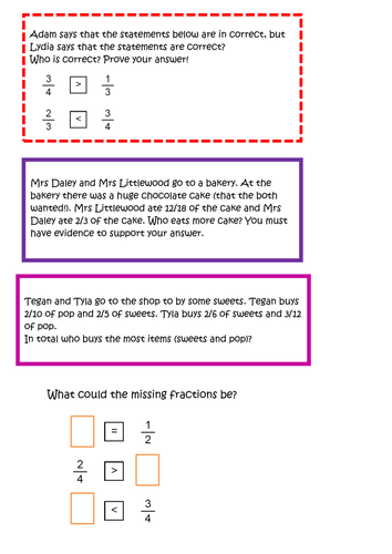 To order and compare fractions with different denominators (year 5)