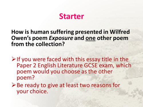 Power and Conflict comparative essay writing resources - NEW AQA GCSE Lit spec