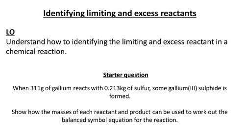Limiting and excess reactants for new GCSE Chemistry by – Limiting Reactant Problems Worksheet