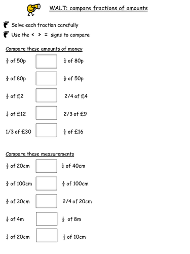 Year 2 Interim Assessment Objectives Comparing Fractions