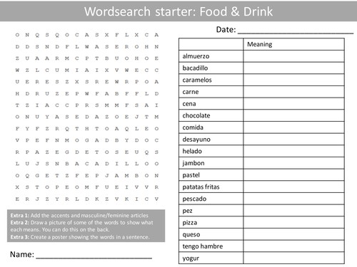 spanish food and drink wordsearch crossword anagrams keyword starters homework cover plenary by. Black Bedroom Furniture Sets. Home Design Ideas