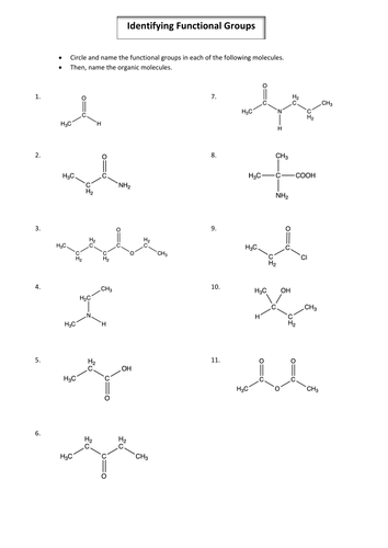 A2 / Year 2 Chemistry Identifying Organic Functional Groups and Nomenclature worksheet