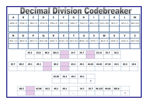decimal division codebreaker sheet by prof689 teaching resources tes. Black Bedroom Furniture Sets. Home Design Ideas
