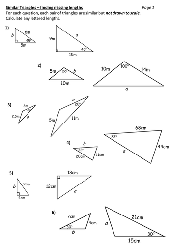 Similar Triangles Worksheet By Durhampotter Teaching