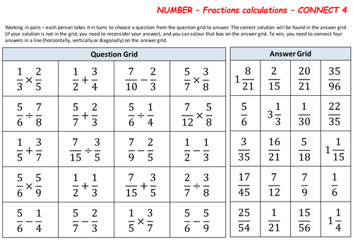 Calculating with fractions and mixed number - Connect 4 game