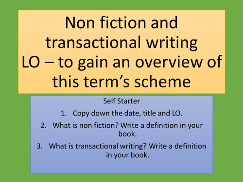 Year 9 Non-fiction and transactional writing Complete scheme of work