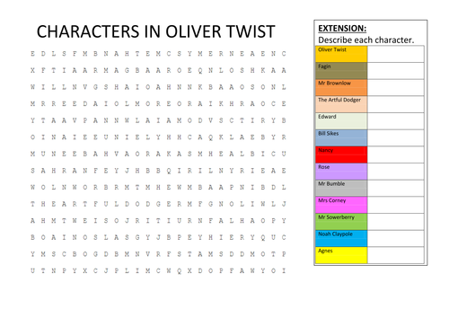 characters in oliver twist wordsearch by hmbenglishresources  characters in oliver twist wordsearch by hmbenglishresources1984 teaching resources tes