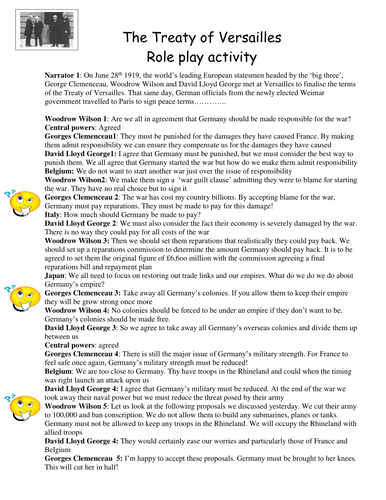 Treaty of Versailles class role play script