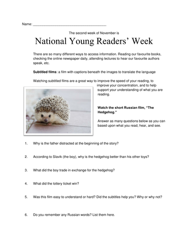 "National Young Readers Week: ""The Hedgehog""Handout"