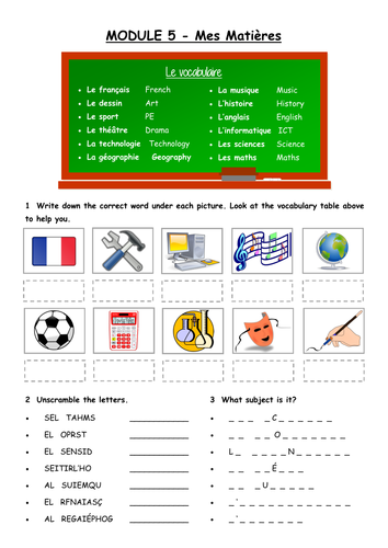 Les matieres / Subjects in French