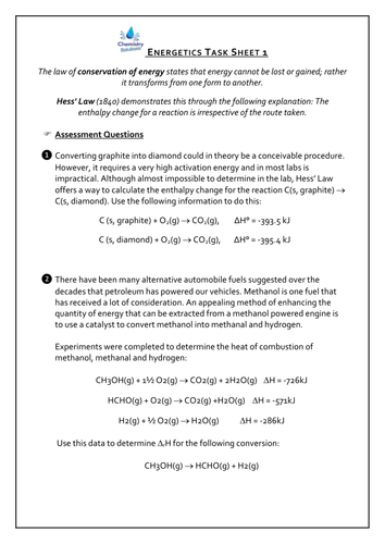 Hess' Law Calculations Worksheet
