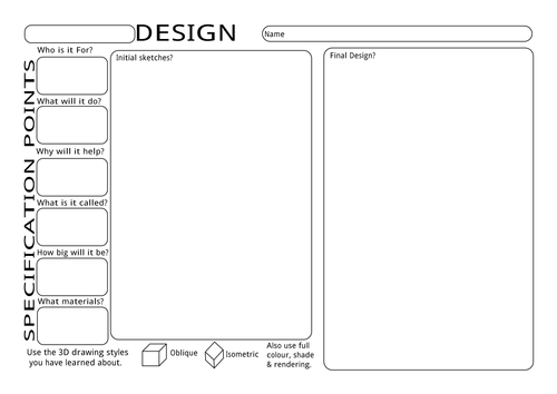 KS3 Design Ideas Worksheet