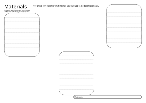 3 Sheets for collecting project research