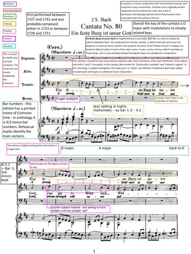 """A level Music 2017/8 Edexcel Analysis Bach Cantata BWV 80 """"Ein feste Burg ist unser Gott"""" MVT 1"""