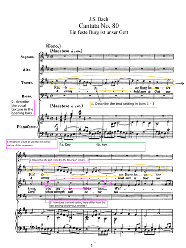 Analysis Questions - Worksheet for Bach Cantata BWV 80 MVT 1 Edexcel Music AS and A Level