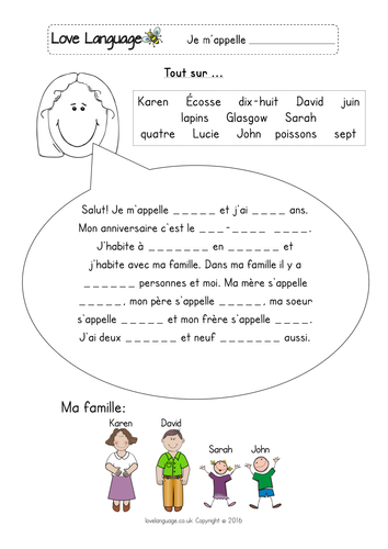 French All About Me gap fill readings and writing activity