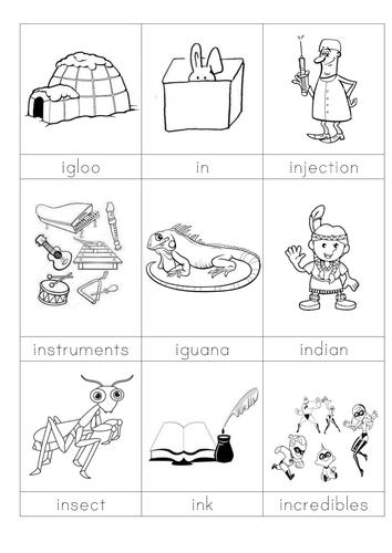 words beginning with i flashcards by sara turner montessori