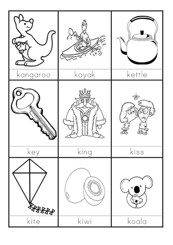 words beginning with K flashcards