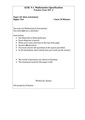 9-1 Maths Questions 1H  Set 2