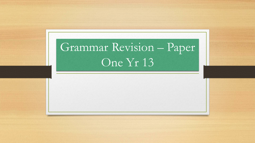 AQA English Language Paper 1 Grammar Revision