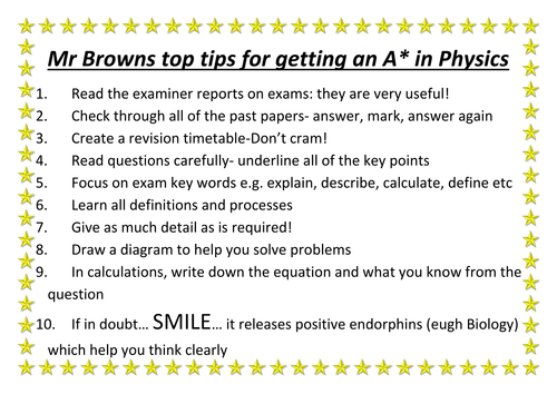 GCSE Physics Top Tips for getting an A*