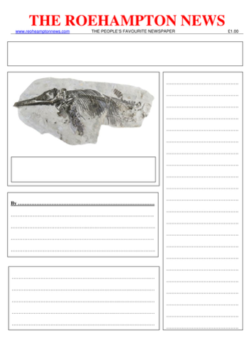 Newspaper report Mary Anning finding the fossil -  differentiated Year three