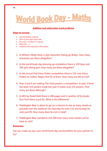 World Book Day (WBD) Maths word problem solving - Years 3 and 4 - differentiated.
