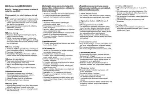 OCR GCSE 9-1 Objectives Condensed by clickschool