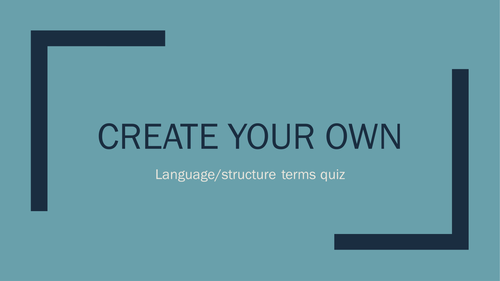 Learners create their own terminology quiz/game (GCSE English New)