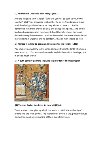 Power and Control Middle Ages Source Based Assessment