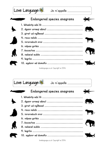 French endangered animals worksheets